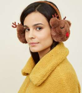 Brown Faux Fur Reindeer Ear Muffs further reduced £3 @ New Look  IN STORE