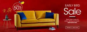Up to 50% off early bird sale PLUS 8% off furniture using discount code at Furniture Village