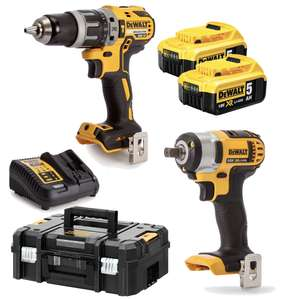 Dewalt DCK2025P2T-GB Combi Drill and Impact Wrench 18v 2x 5.0Ah at Toolsense for £249.99