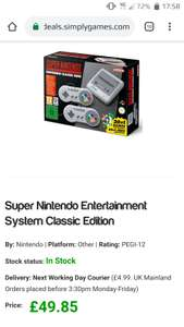 Nintendo Snes mini classic £54.84 delivered Simply games