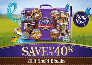 Save up to 40% on summer stays at Alton Towers Hotels including 2 days Theme Park tickets - Prices from from £55pp