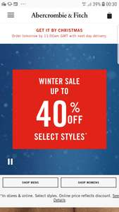 Upto 40% off Abercrombie and Fitch winter sale. Plus £10 off £50 spend for new customers.