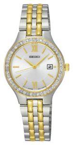 Seiko 28mm Ladies Stainless Steel SUR758P9 Quartz Watch, Date, 30M WR, Swarovski, Stainless Steel/Gold-Tone, Hardlex, £34.99 @ Argos ebay