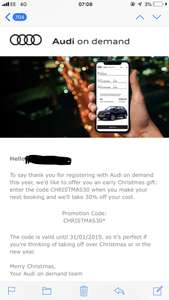 Save 30% at Audi on demand - Audi's premium mobility experience
