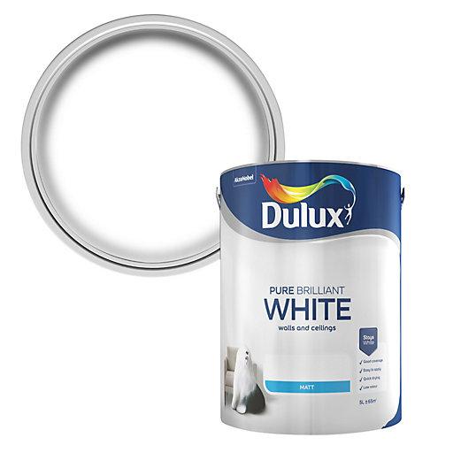 5 litres Dulux brilliant white Matt emulsion £9 instore at B&Q