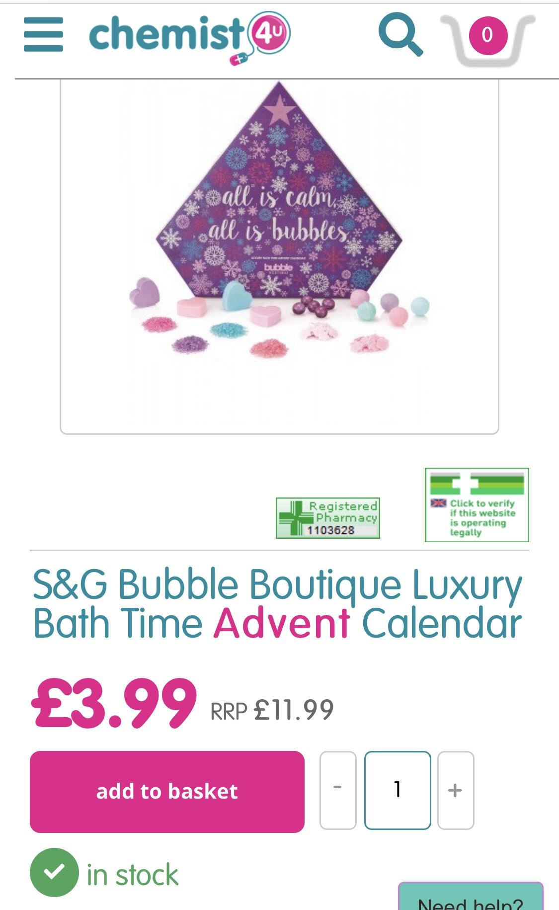 S&G Bubble Boutique Luxury Bath Time Advent Calendar £3.99 (+£2.95 postage) @ Chemist 4 U