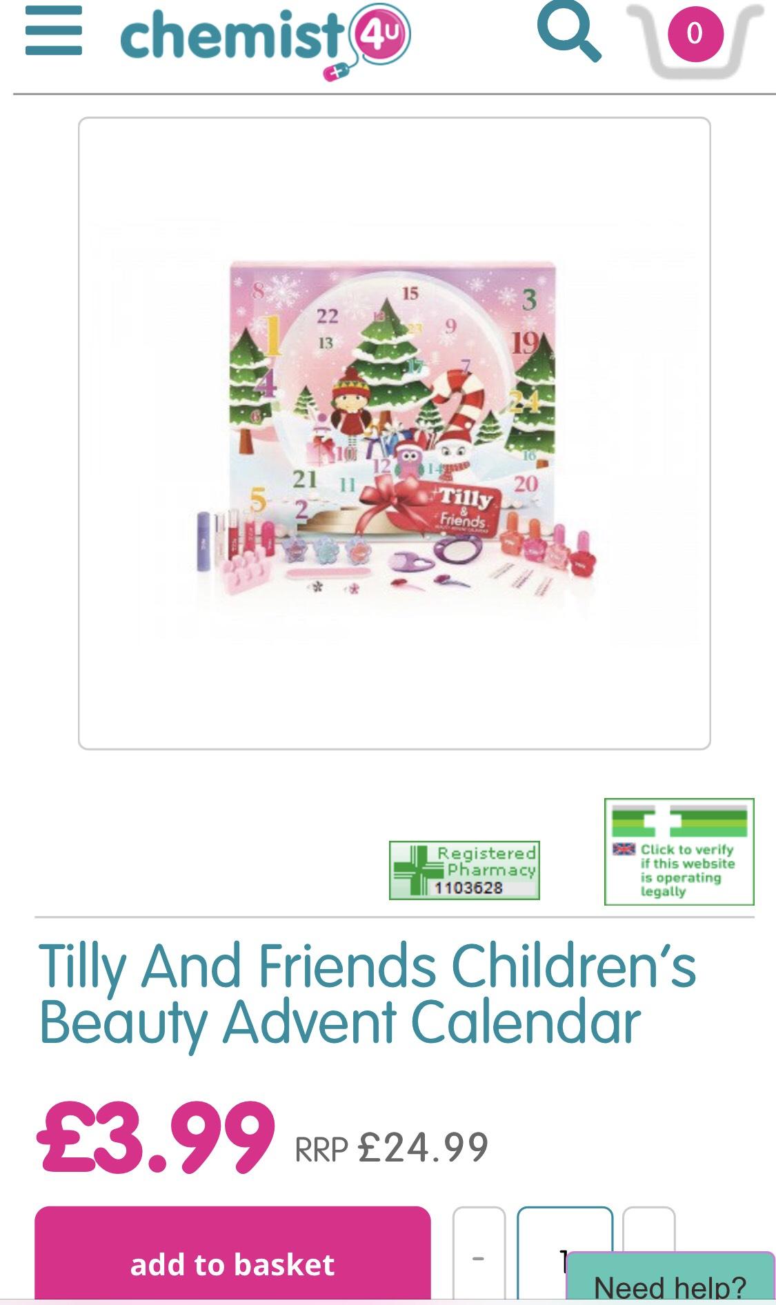 Tilly And Friends Children's Beauty Advent Calendar £3.99 @ Chemist 4 U