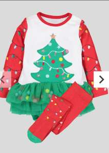 Multicoloured Christmas Tree Tutu Bodysuit With Tights (0- 24 months) £2.40 Sainsbury's Tu Clothing