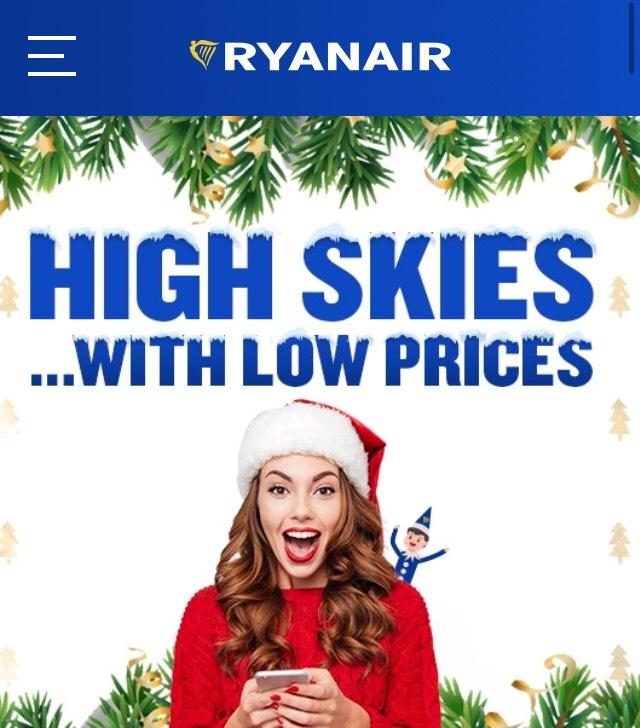 Ryaniar Christmas fares from £4.88