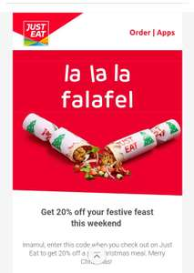 Just Eat 20% Off Voucher Code - Possibly Account Specific