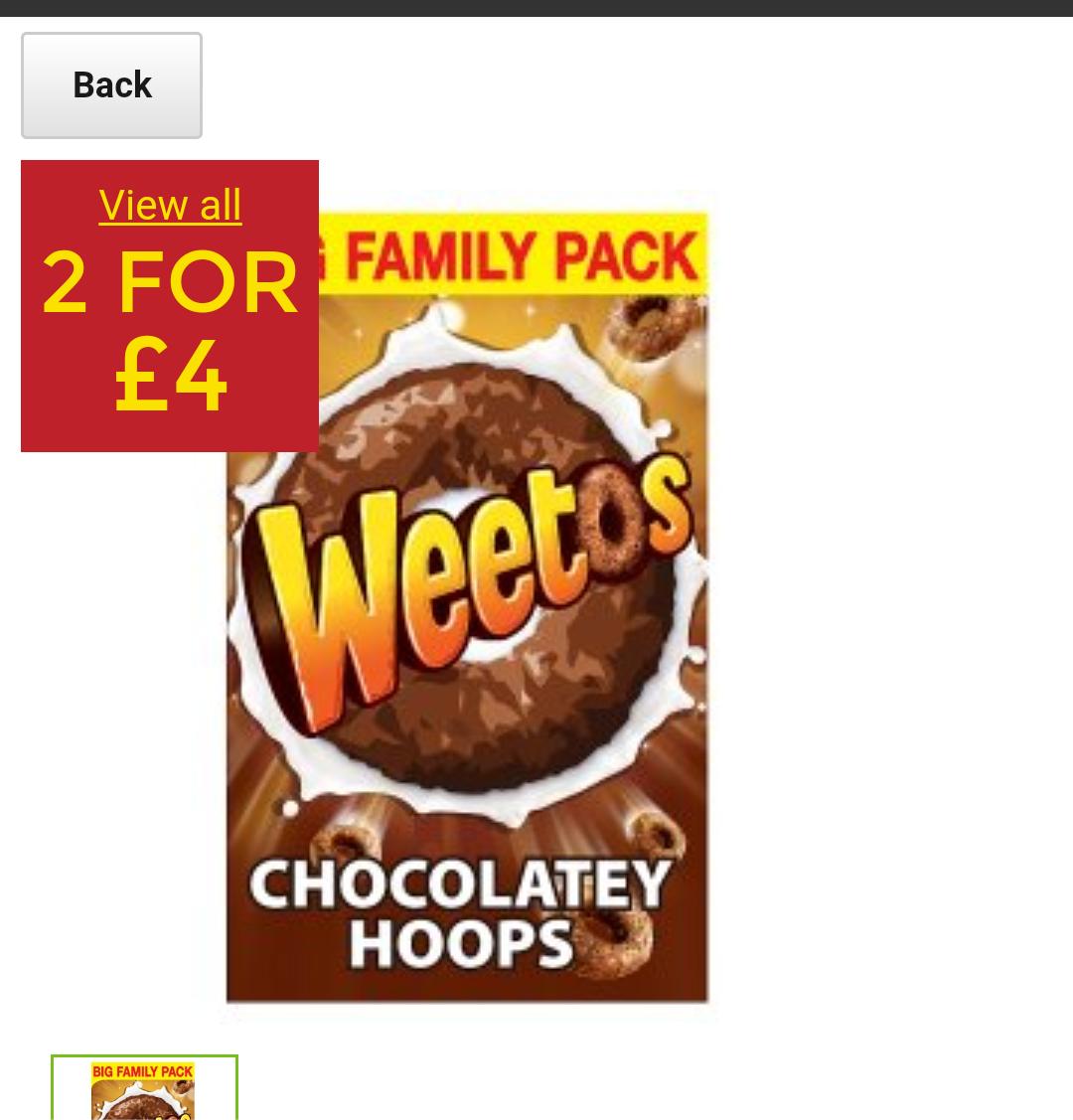 Weetos chocolate hoops 500g 2 for £4 at Asda