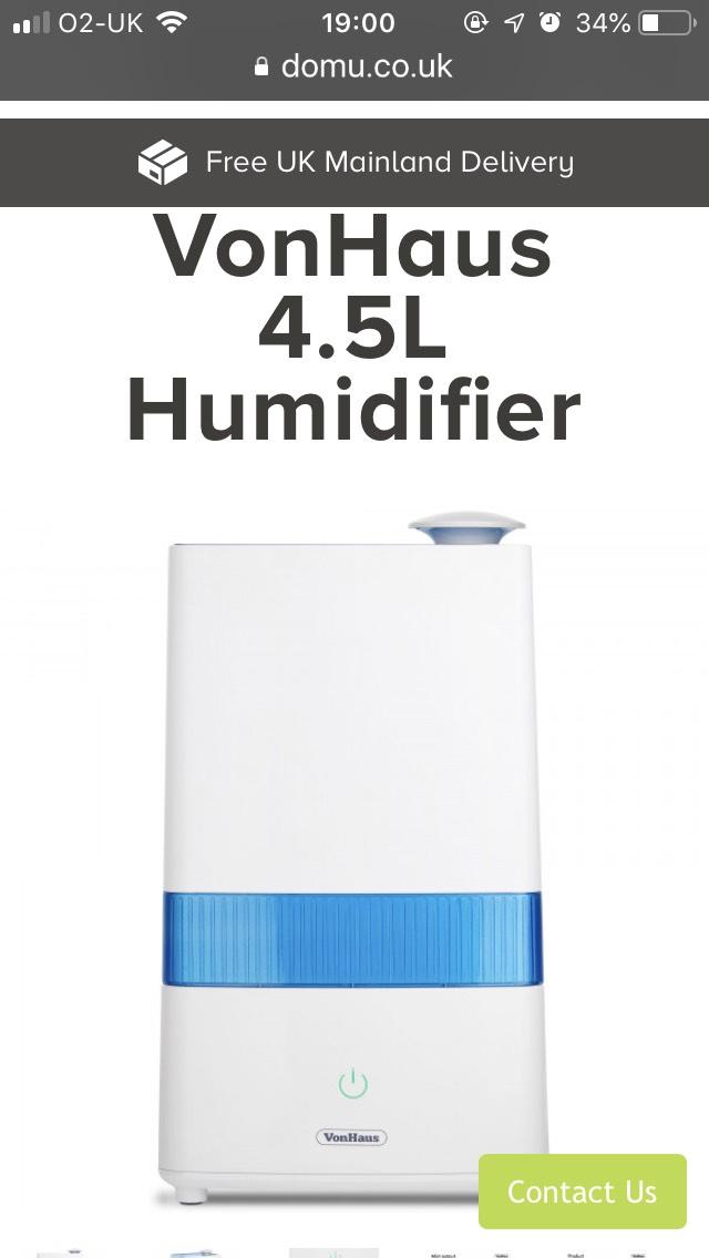 4.5ltr humidifier £26.99 @ Domu