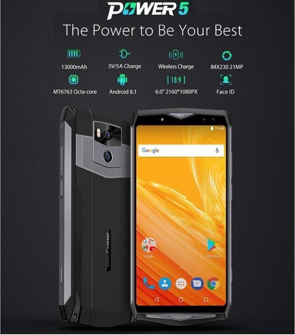 "Ulefone Power 5 MTK6763 Android 8.1 13,000mAh 6"" FHD+ 6Gb/64Gb 21/5MP £201.99 @ Gearbest"