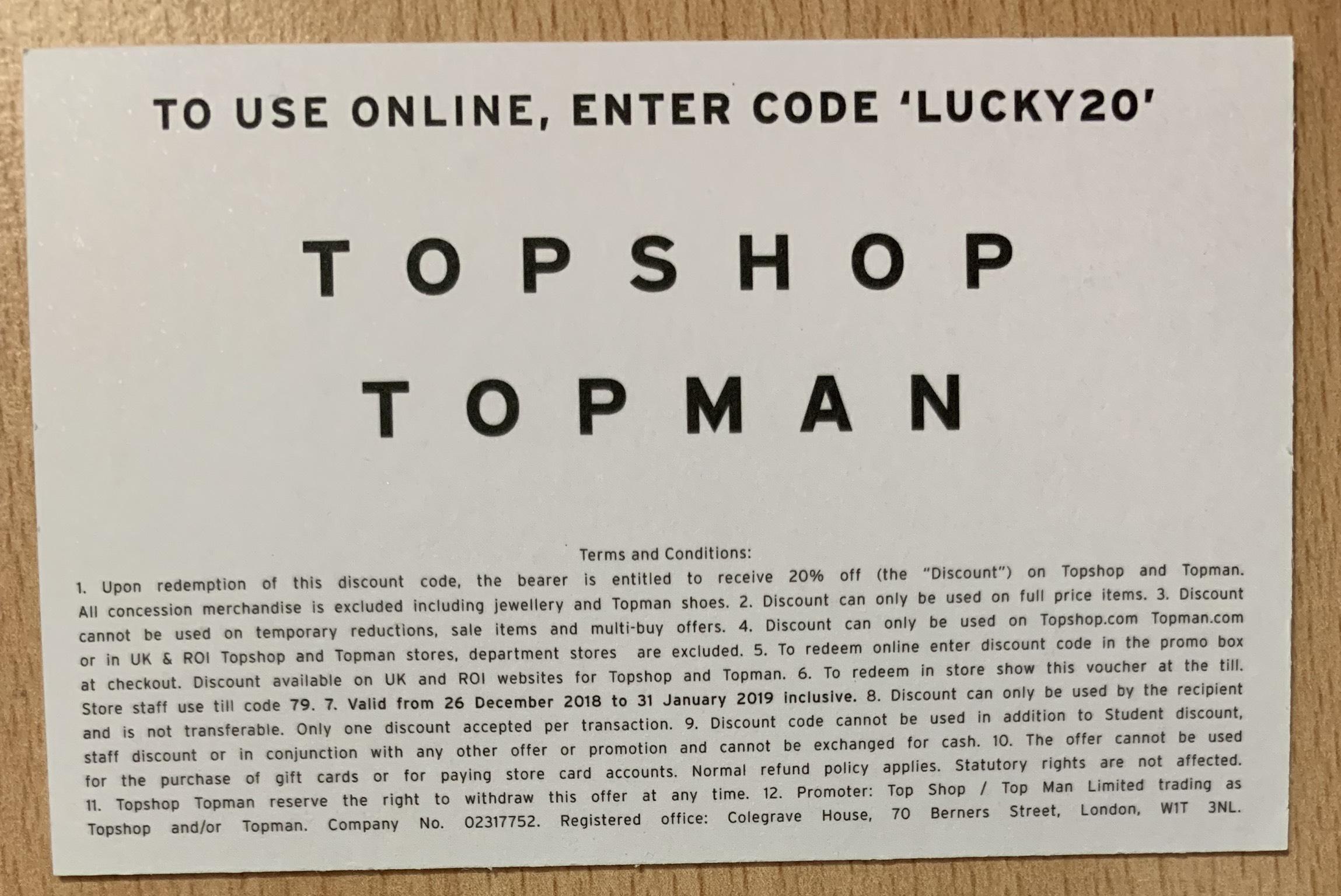 20% off Topshop/Topman (Dec 26-Jan 31)