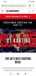 TEAM SPORT GO KARTING! - £30 for one person + £1 for additional players AT ALL VENUES