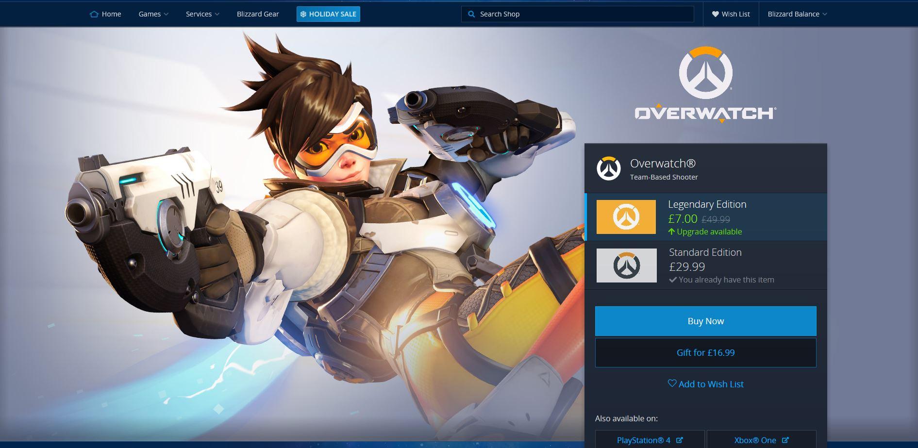 Overwatch Legendary Edition Upgrade PC - £7: Blizzard Store