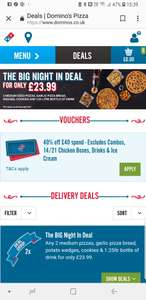 40% off a £40 spend - Dominos