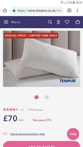 Tempur cloud and comfort pillows at Dreams for £70