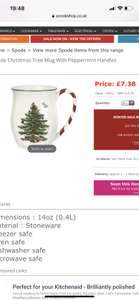 Spode Christmas Tree Mug with Peppermint Handles at ecookshop for £9.59 delivered