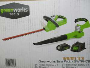 Wyevale Clearance - Greenworks Li Ion Garden twin pack - Hedge Trimmer / Leaf Blower