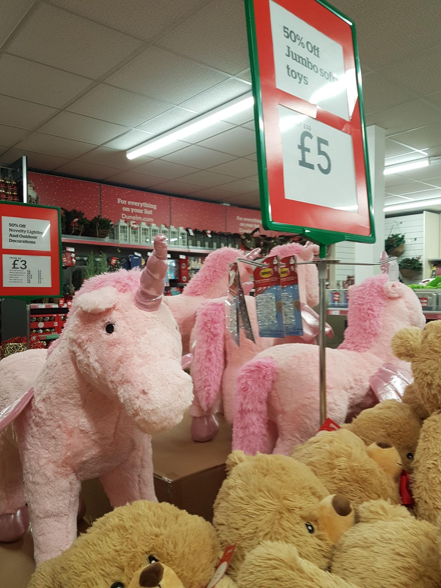Jumbo bear £5 jumbo unicorn £25 dunelm mill instore