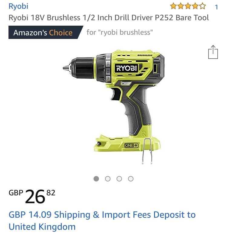 Ryobi brushless drill (tool only) £40.91 @ Amazon US