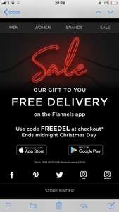 FREE DELIVERY ON FLANNELS APP