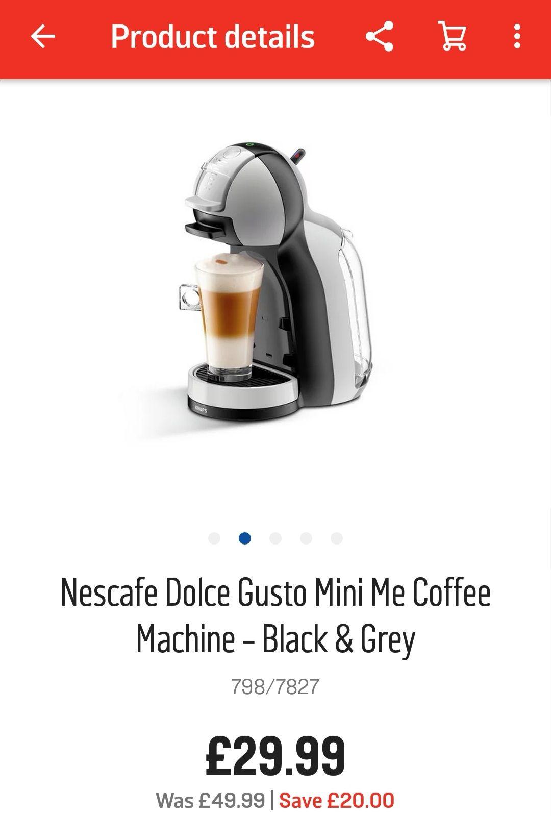Nescafe Dolce Gusto Mini Me Coffee Machine - Black & Greyby NESCAFE Dolce Gusto by KRUPS - £29.99 @ Argos (free C&C)
