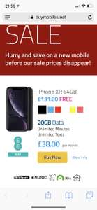iPhone XR 64gb - £38pm x 24 months = £912 @ BuyMobiles