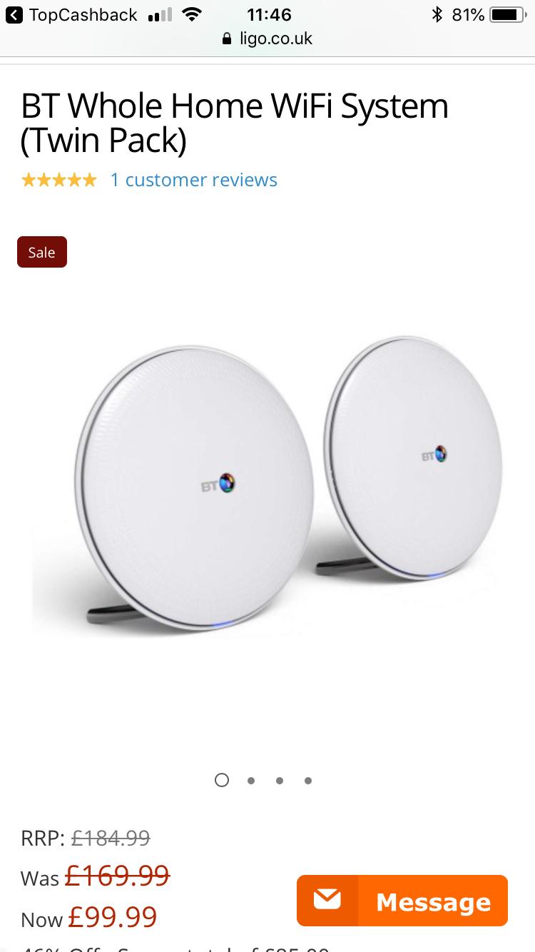 BT whole home WiFi 2 disc £99.99 @ ligo