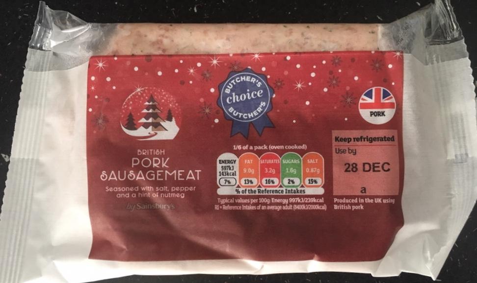 Sainsbury's British Pork Sausagemeat - 400g 50p