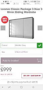 Lorenzo Classic Package 3 Door 3 Mirror Sliding Wardrobe £799.20 @ Bensons for beds