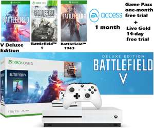 MS Xbox One S (1TB) ( Battle Field V Deluxe+ 1+1943) +1 month EA access +1 month Game pass+14 Days Gold for £199.99 Delivered @ Microsoft