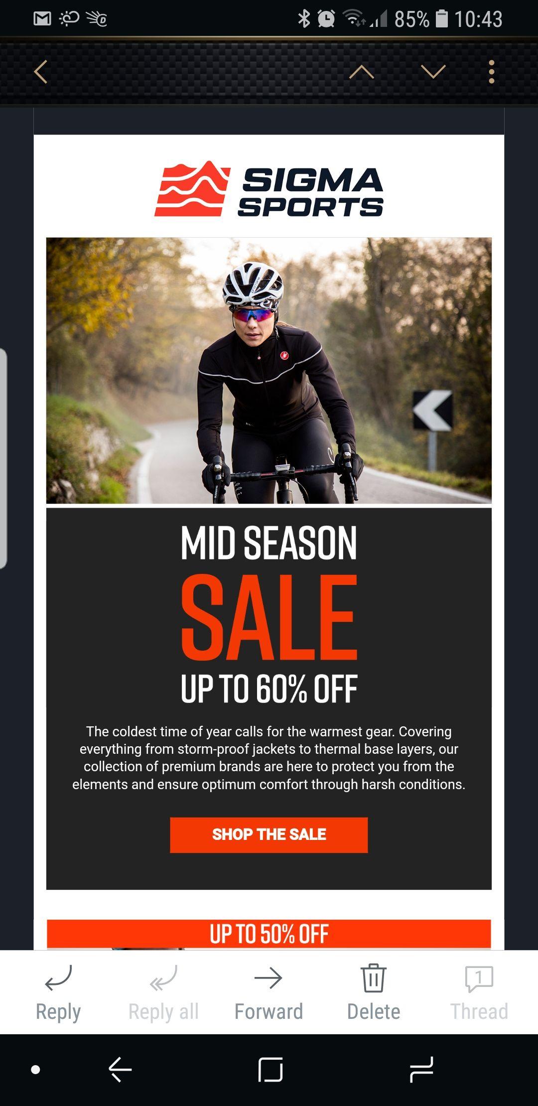 Upto 60% off Cycling brands incl Castelli, Sportful, Black Sheep, Ashme, Ale & Mavic Mid Season Sale at Sigma Sports