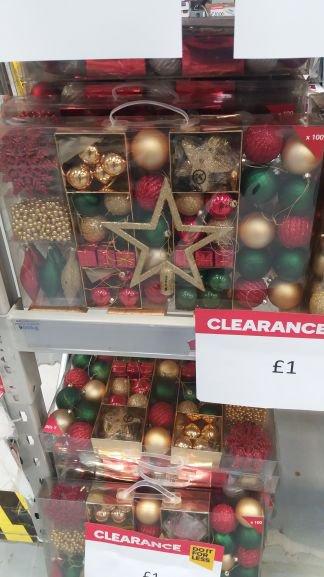 100 piece Christmas decorations set for £1.instore @ B&Q