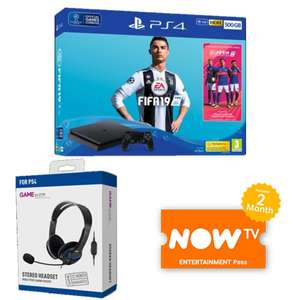 FIFA 19 500GB PS4 + Gameware Stereo Headset + NOW TV 2 Months Entertainment Pass