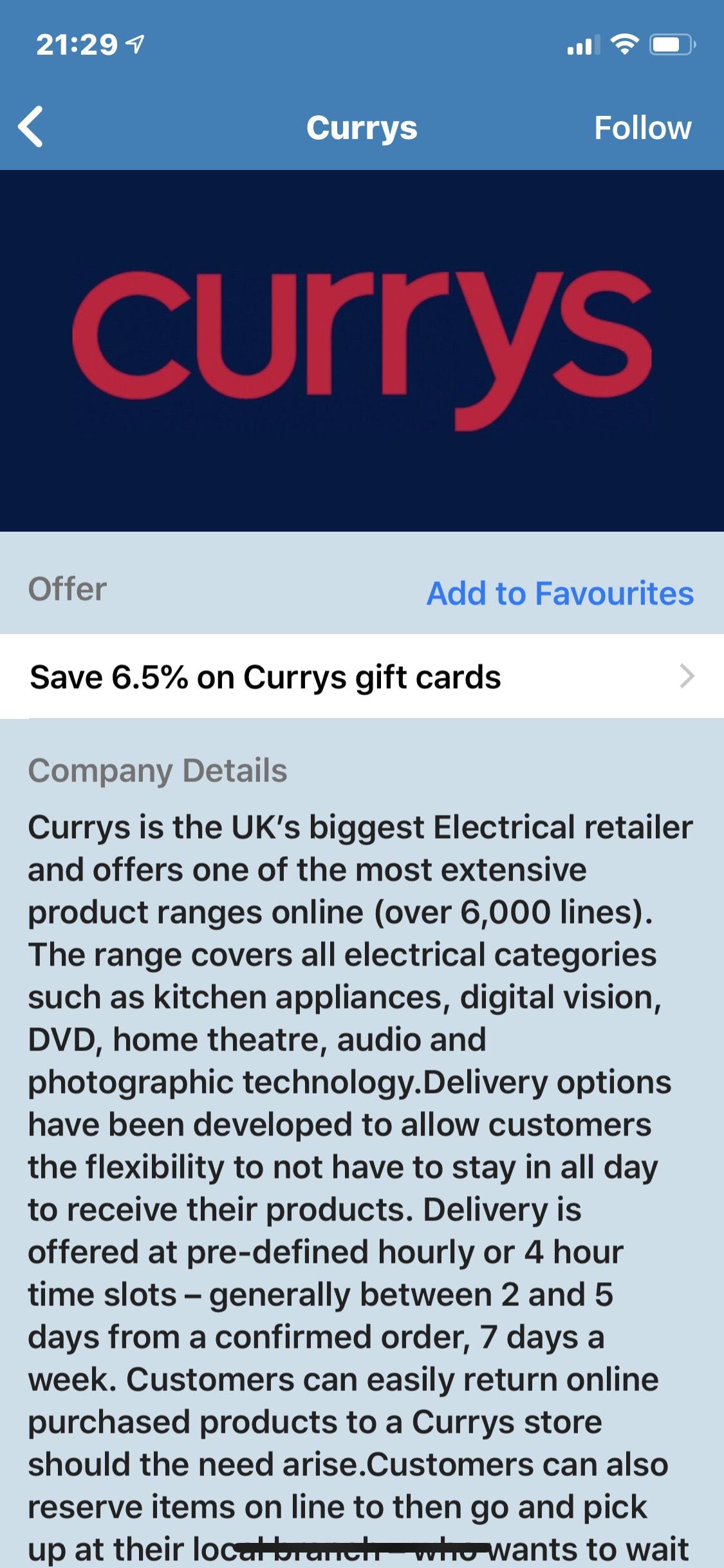 6.5% discount on PC world/Currys gift voucher through Bluelight membership