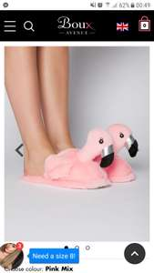 Ladies Pink flamingo  Slippers £5 was £18. FD over £50 or Click & Collect over £25 spend from over 200 stores at Boux Avenue.£1.95 under £25