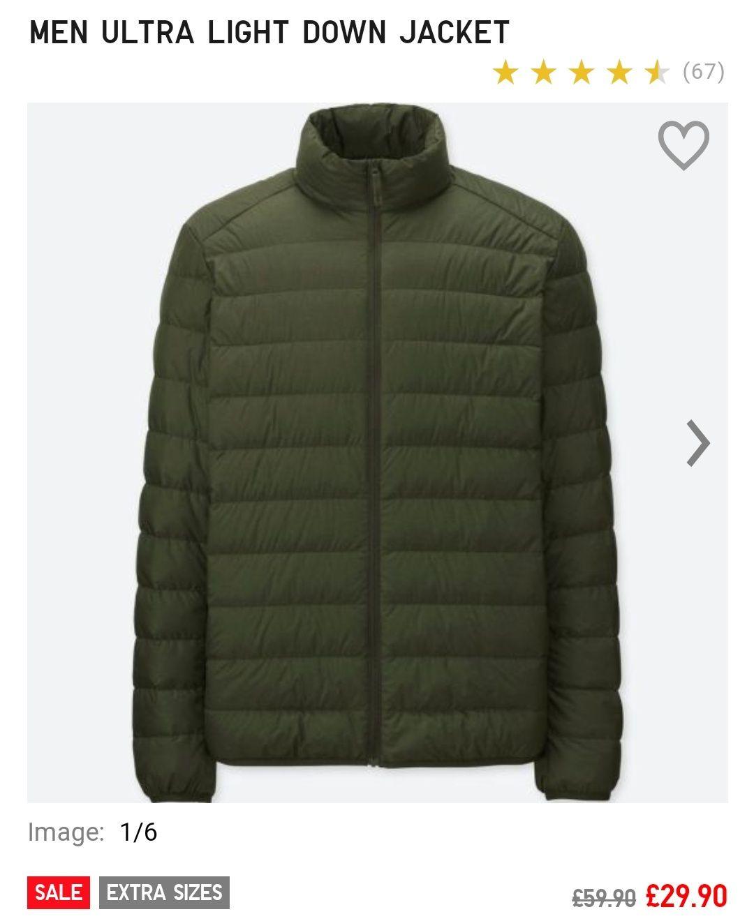 Uniqlo men's ultra light down jacket £29.9