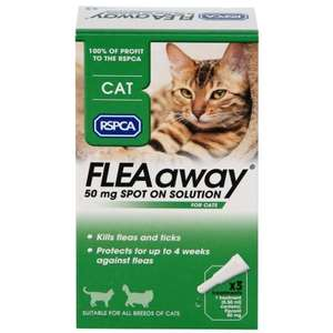 RSPCA FLEAaway Cat Flea Treatment 3 x 50mg £4.99 at B&M