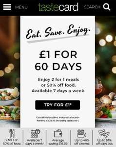 TasteCard 60day Trail - £1 - £34.99 after