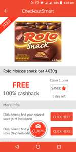 Free Rolo Mousse snack bar via checkoutsmart in Tesco, Asda and Morrisons