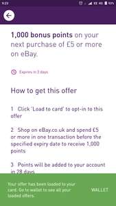 1000 Bonus Nectar points on your next eBay purchase of £5 or more