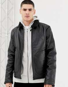 Bellfield leather aviator jacket with borg lining in black - Real Leather - All sizes - £54 delivered @ ASOS