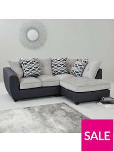 Juno Fabric Compact Right Hand Corner Chaise Scatter Back Sofa - £374.19 delivered using code @ Very