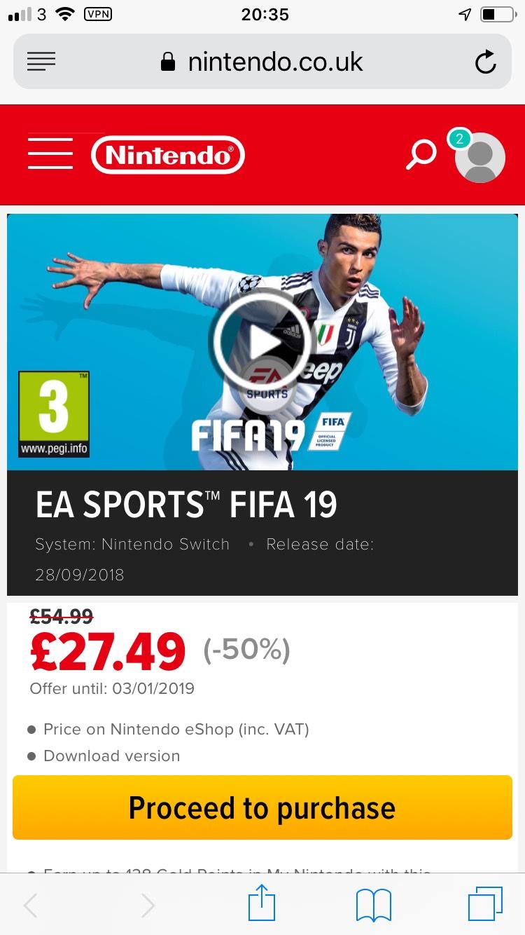 FIFA 19 Nintendo Switch £27.49 - Nintendo eShop