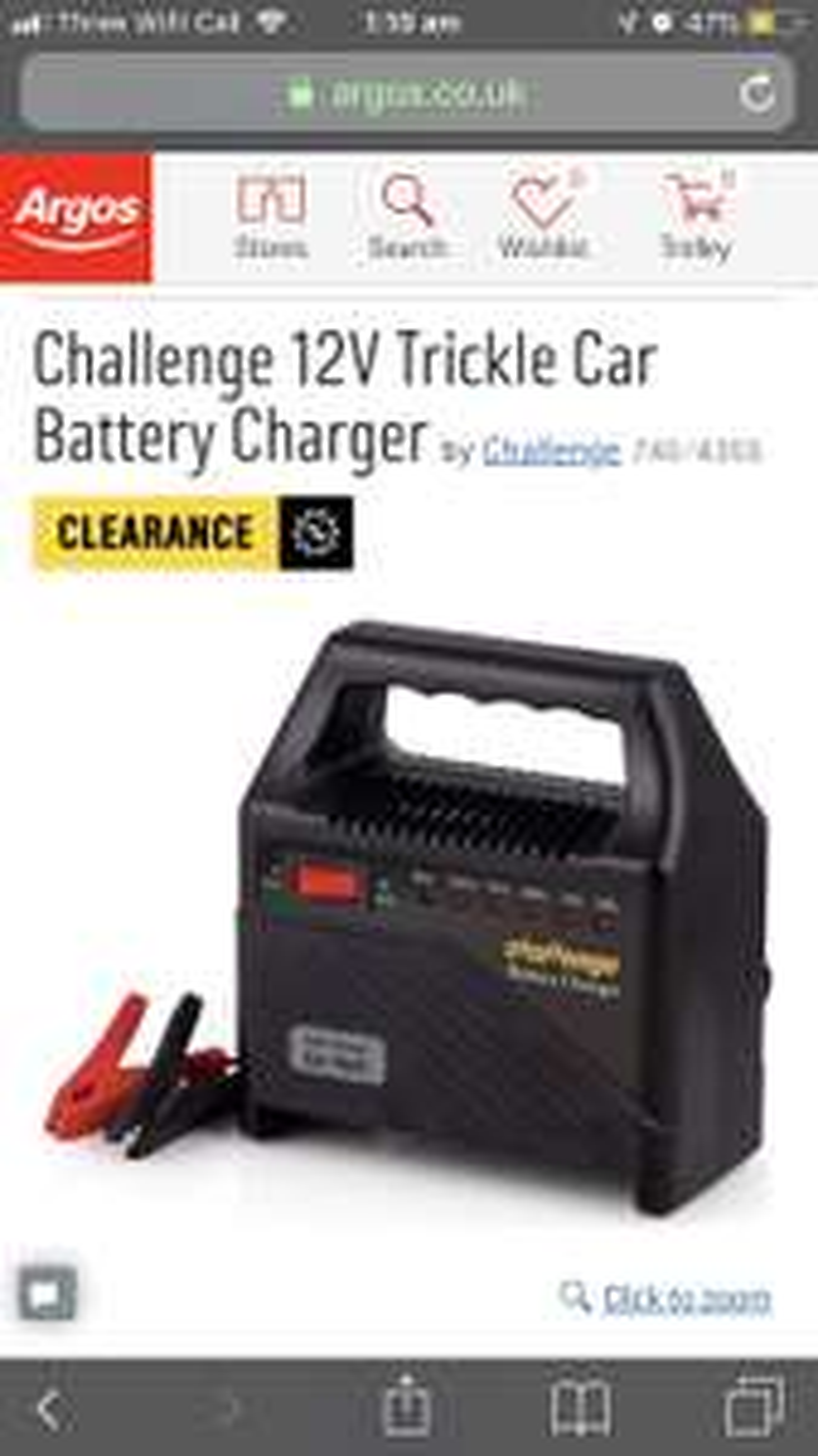 Challenge 12V Trickle Car Battery Charger £12.99 @ Argos