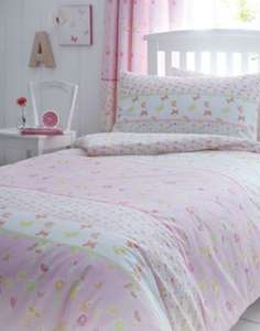 Girls Pink Meadow Cotton Duvet Set at Not On The High Street for £9.75 delivered