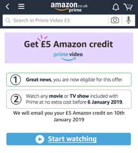 Free Amazon £5 voucher by just streaming prime video