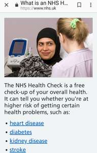 Free NHS health check for over 40s. It could save your life